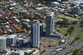 Two highrises in a residential neighbourhood aerial shot of located the area of surfers paradise gold coast queensland Royalty Free Stock Photos
