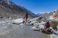 Two hindu saints in the indian himalayas gangotri valley may sadhus take a holy dip freezing waters of ganges river at its source Stock Photos