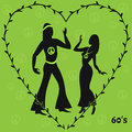 Two hippie dancers,retro illustration of sixties Royalty Free Stock Photo
