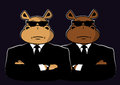Two hippo in black dressed suits and sunglasses Royalty Free Stock Photos
