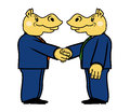 Two hippo in suits and with a handshake Stock Photo