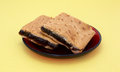 Two homemade fig bar squares on a red plate Royalty Free Stock Photo