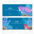 Dos tarjeta coral y