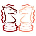 Two horses chess pieces knights opponents intellectual game