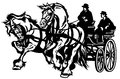 Two horses drawn carriage black and white isolated illustration Stock Photography