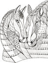 Two horses showing affection, zentangle stylized, vector