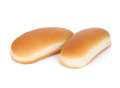 Two hot dog buns isolated on white background Royalty Free Stock Photos