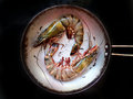 Two huge shrimp in a pan Royalty Free Stock Images
