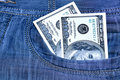 Two hundred Dollars in a pocket Stock Photography