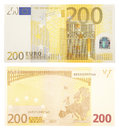 Two hundred euro banknote sides Stock Photo