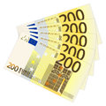 Two hundred euro banknotes on a white background Stock Images