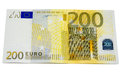Two hundred euro money banknote with a isolated on a white background Stock Photo