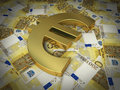 Two hundred euro sign and banknotes d render golden symbol on close up Royalty Free Stock Photos