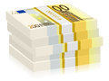 Two hundred euro stacks hundreds banknotes on a white background Stock Image