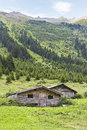 Two Huts in the meadow Stock Photography
