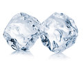 Two ice cubes close-up  on a white background. Clipping pats Royalty Free Stock Photo