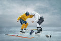 Two ice hockey players boxing on the Stock Image