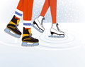 Two ice skaters Stock Photo