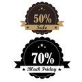 Two icons for black friday different with ribbons and colors Stock Images