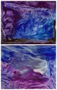 Two indigo encaustic abstract background with hot wax effect Stock Photos