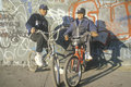 Two inner city african american teenagers on bicycles ny city Royalty Free Stock Images
