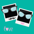 Two Instant photos with lips, moustache and glasse Royalty Free Stock Image