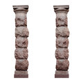 Two isolated architectural columns in rustic style on a white background Royalty Free Stock Photo
