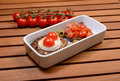 Two italian delicious bruschetta on a rectangular plate Royalty Free Stock Photos