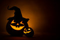 Two jack o lantern at dark Royalty Free Stock Photo