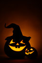 Two jack o lantern at dark Stock Image