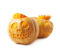 Two Jack-O-Lantern pumpkins isolated Royalty Free Stock Photo