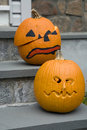 Two Jack-o-lanterns Royalty Free Stock Image