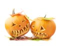 Two Jack-o'-lanterns pumpkin heads Royalty Free Stock Photo