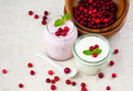 Two jars of berry dessert cream Royalty Free Stock Image