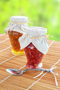 Two jars of fruit jam Royalty Free Stock Images