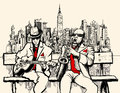 Two jazz men playing in new york vector illustration of saxophone and guitar Royalty Free Stock Image