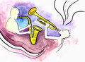Two jazz musicians saxophonist and trumpeter Stock Images