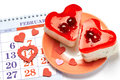 Two jelly heart-shaped cakes and Valentines calendar