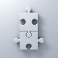 Two jigsaw puzzle pieces on white wall background with shadow 3D rendering Royalty Free Stock Photo