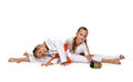 Two karate girl Royalty Free Stock Photo