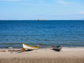 Two kayaks on the beach Royalty Free Stock Photo