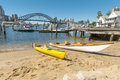 Two kayaks on beach Lavender Bay Royalty Free Stock Photo