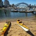 Two kayaks beach Lavender Bay harbour bridge city background Royalty Free Stock Photo