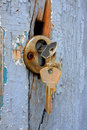 Two keys in the old door lock Royalty Free Stock Photo