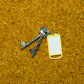 Two keys and yellow tag blank on cork background Royalty Free Stock Photography