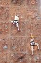 Two kid climbers Royalty Free Stock Photo
