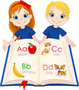 Two kids and abc book illustration Royalty Free Stock Image