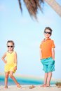 Two kids at beach Royalty Free Stock Image