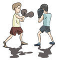 Two kids boxing isolated on white cartoon image of Stock Photos