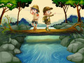 Two kids crossing the river illustration of Stock Images